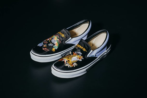 Vans Amp Rollicking Team Up On An Embroidered Satin Slip On
