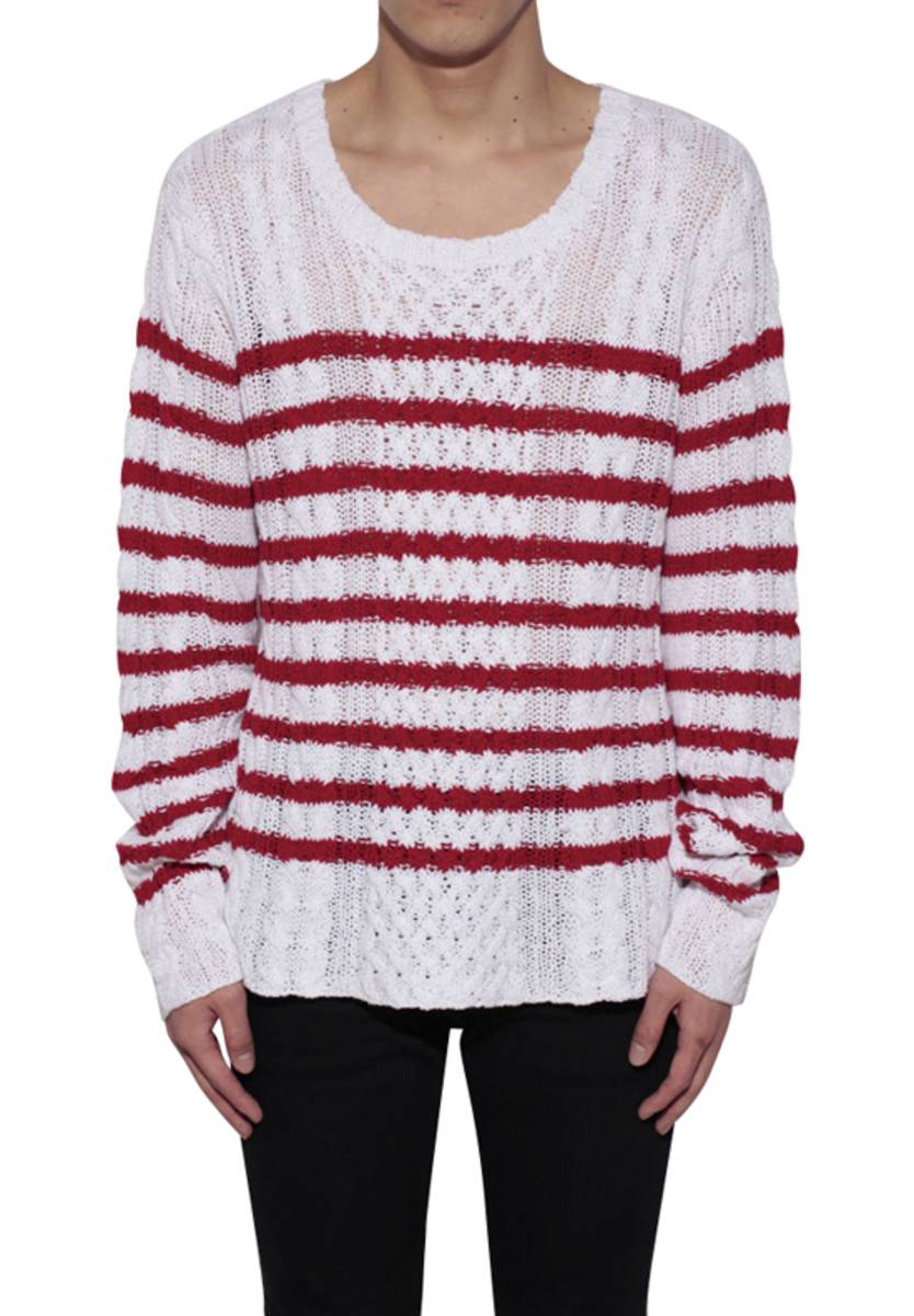 Border Cable Knitted Sweater Red