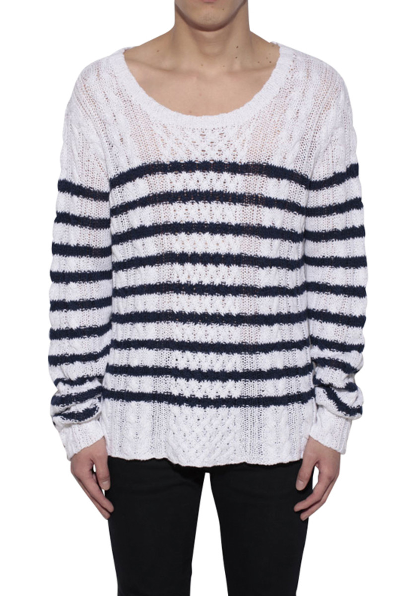 Border Cable Knitted Sweater Blue