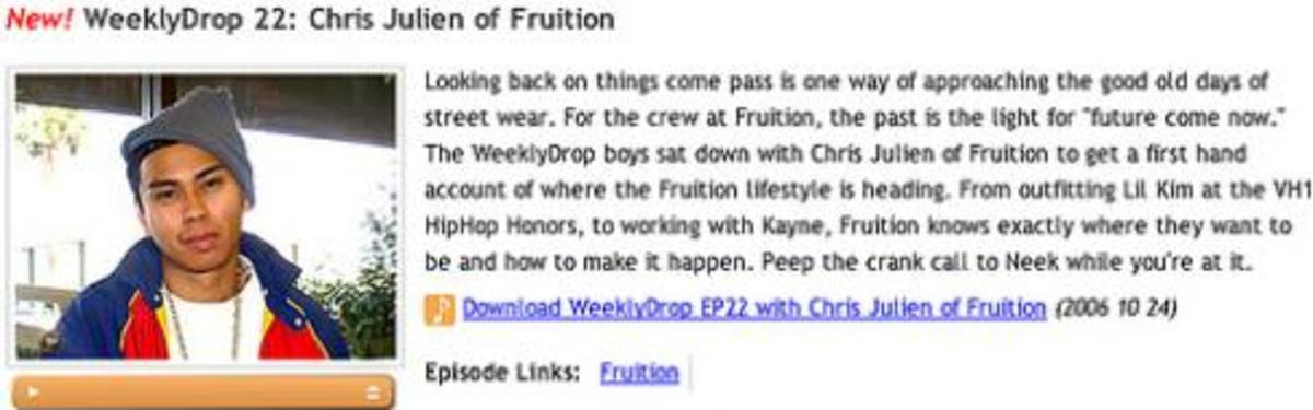 WeeklyDrop - Episode 22 - Chris Julian of Fruition - 0