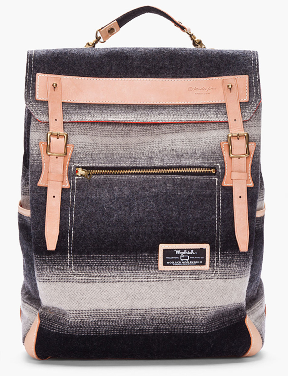 master-piece-woolrich-gray-striped-backpack-01