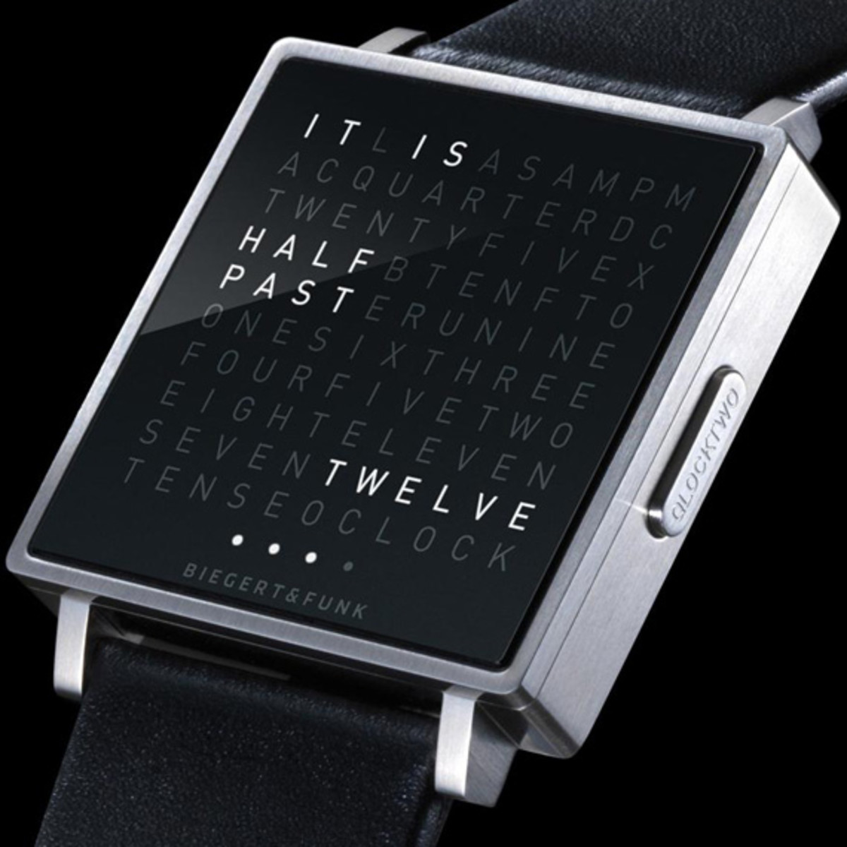 biegert funk qlocktwo w watch time telling in words. Black Bedroom Furniture Sets. Home Design Ideas