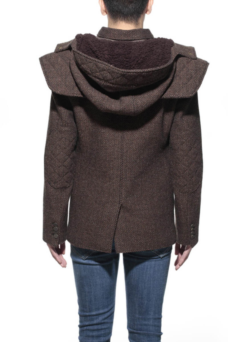 Tweed Shell Jacket Brown 2