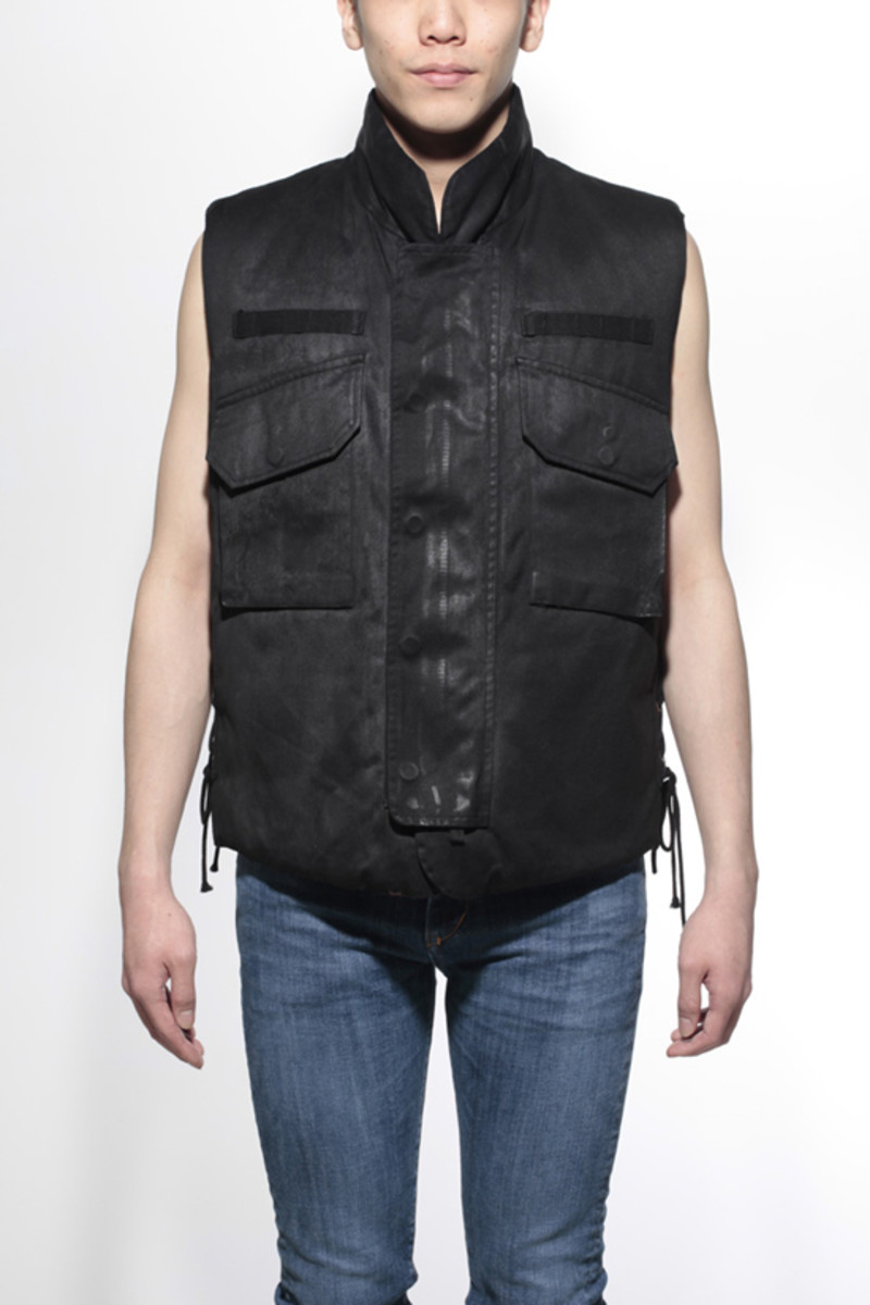 Waxed Cotton Vest Black