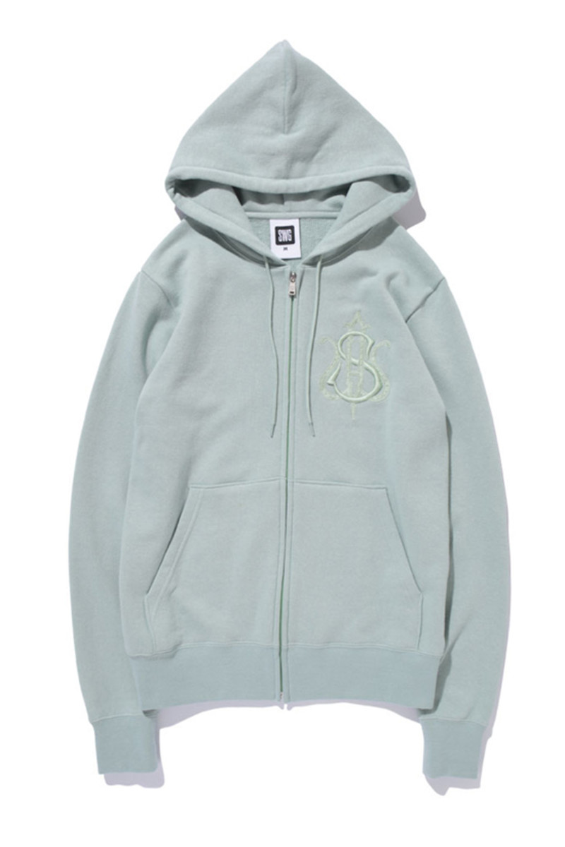 Monogram Full Zip Hoodie Cream Gray