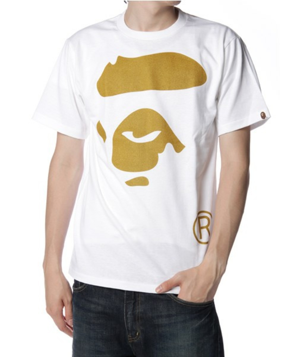 Face T-Shirt Gold White