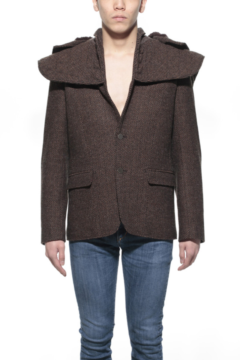 Tweed Shell Jacket Brown