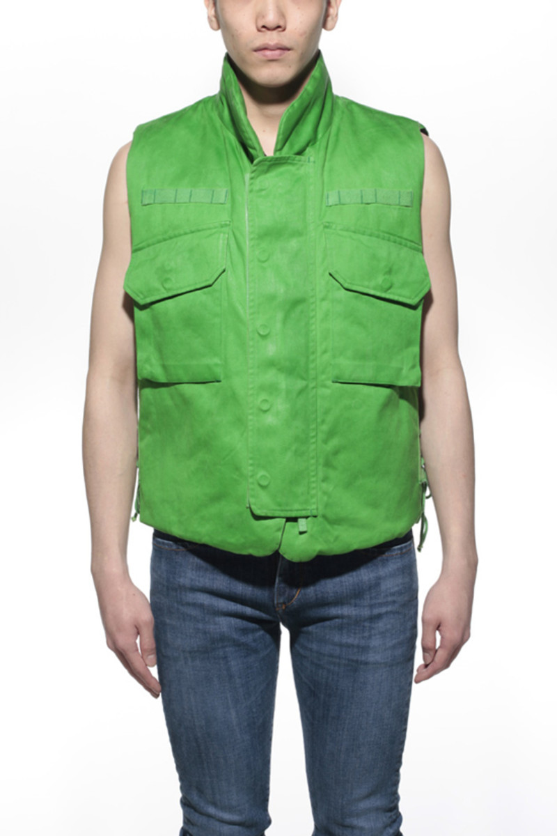 Waxed Cotton Vest Green