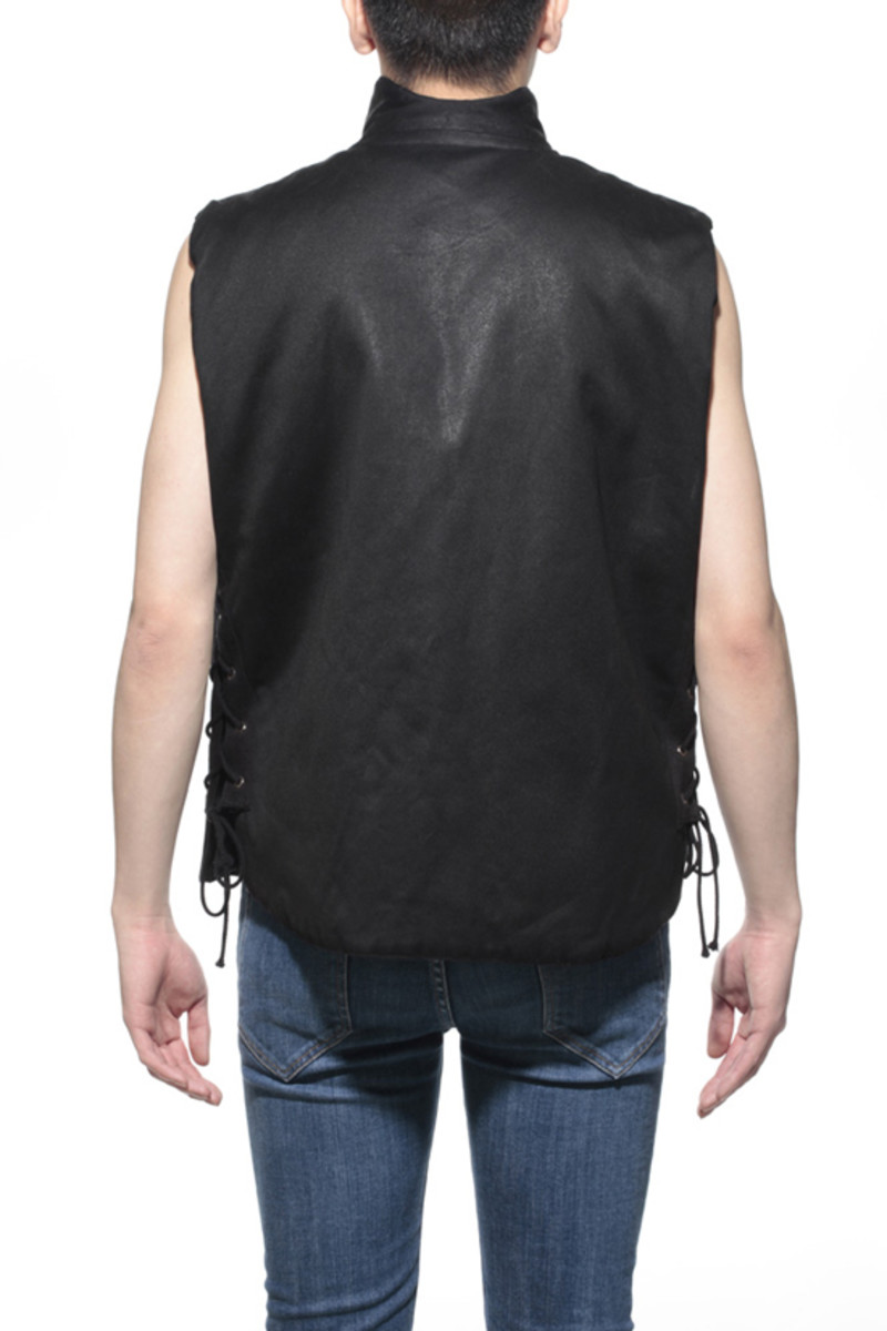 Waxed Cotton Vest Black 2