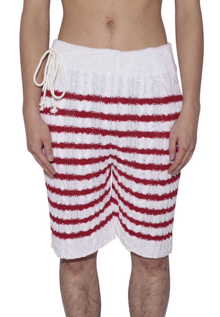 Border Cable Knitted Shorts Red