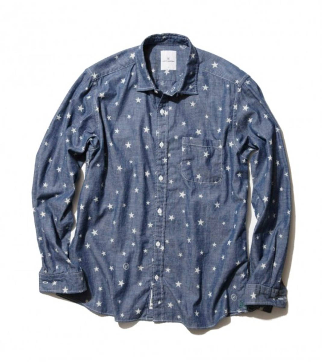 Cotton Chambray Star Pattern Shirt
