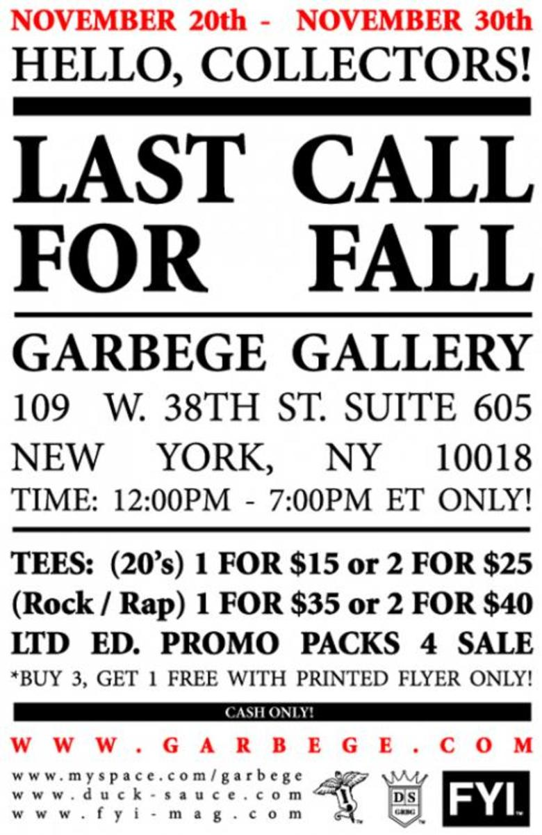 Sample Sale @ Garbege - Ends Nov. 30 - 2