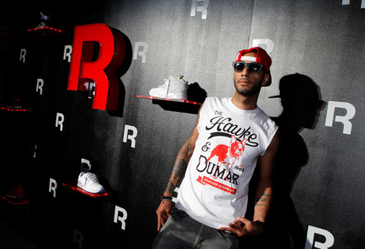 Swizz Beatz at Reebok product wall