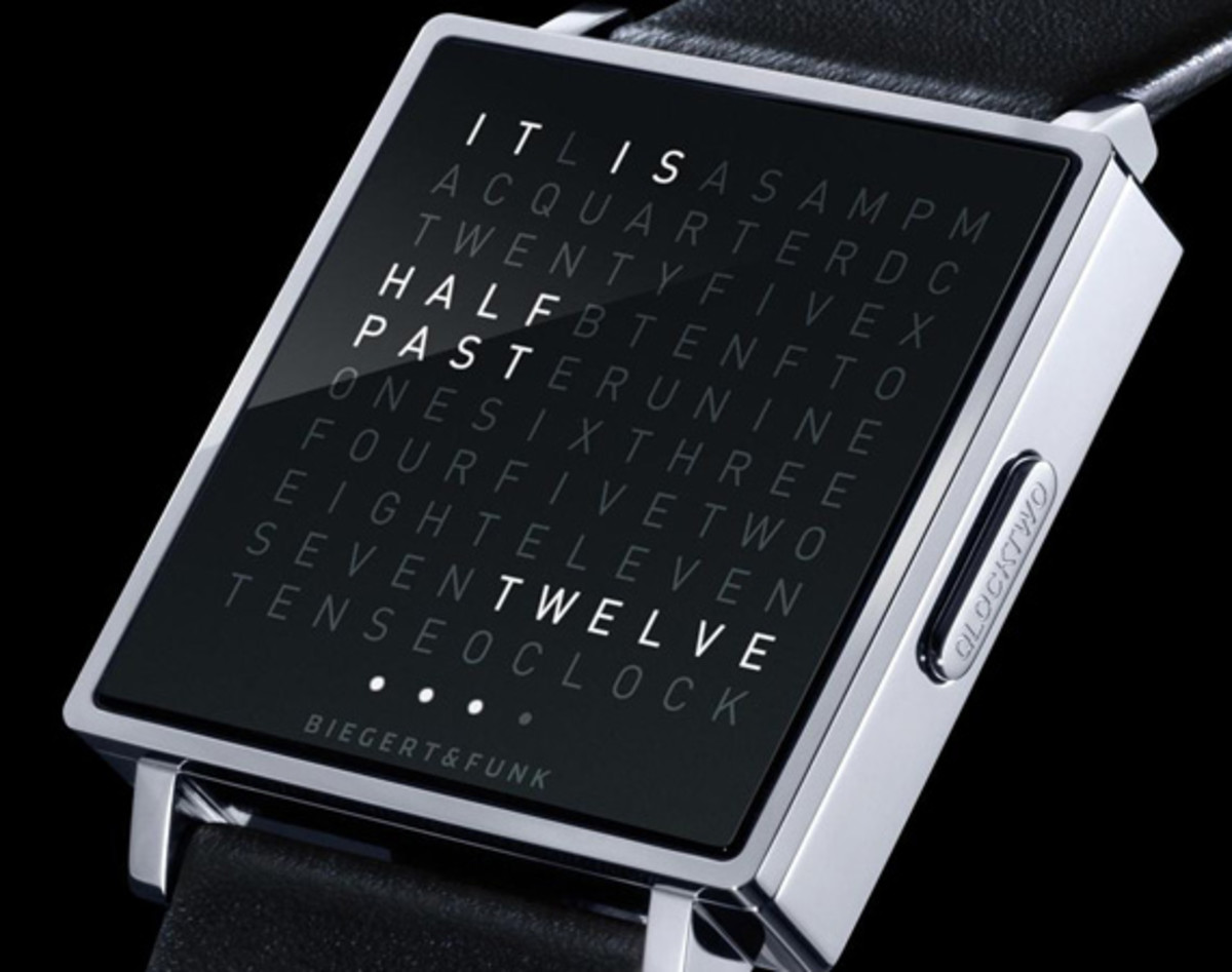 biegert funk qlocktwo w watch time telling in words available now freshness mag. Black Bedroom Furniture Sets. Home Design Ideas