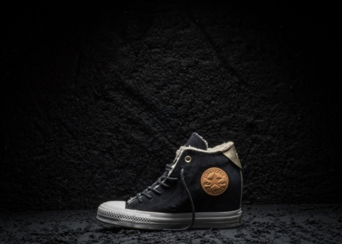 Converse Chuck Taylor All Star Black and Gold Wedge