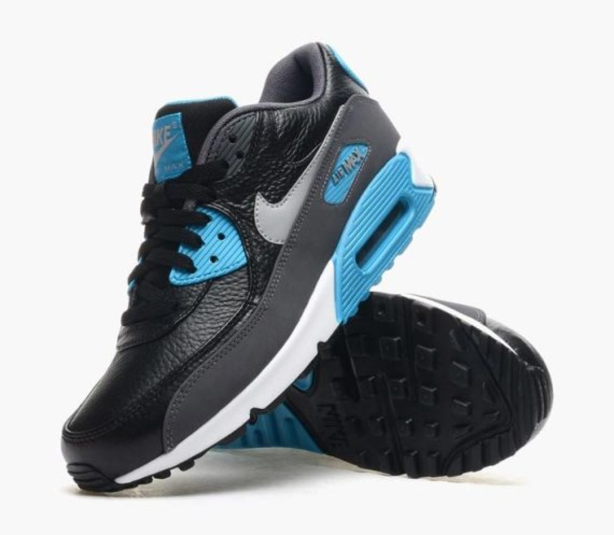 nike air max 90 leather (black/wolf grey-blue)