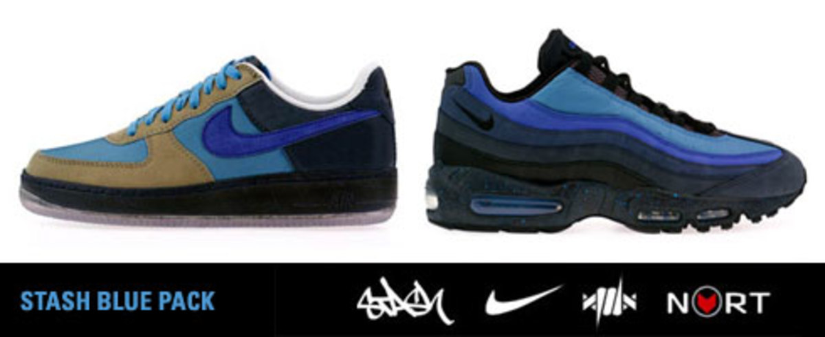 5843a42e377 Nike x STASH Blue Pack - Air Force 1 + Air Max 95 - Freshness Mag