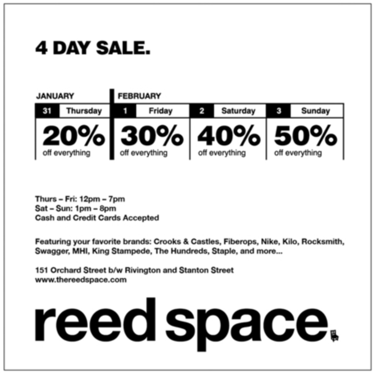 Reed Space Sale
