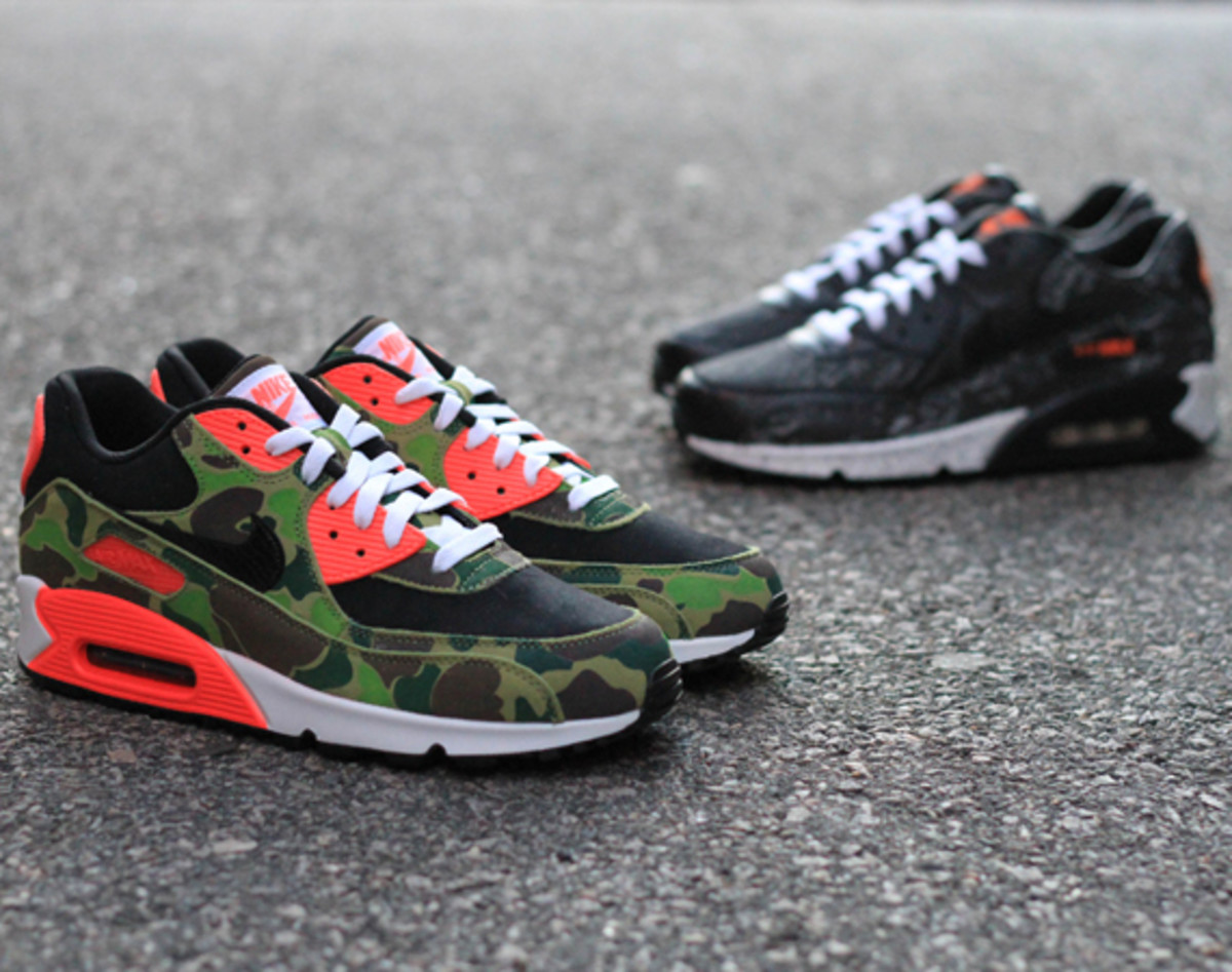"hot sale online 978d2 397cb atmos x Nike Air Max 90 Premium – ""Infrared Camo""   ""Tiger Camo""   Release  Info"