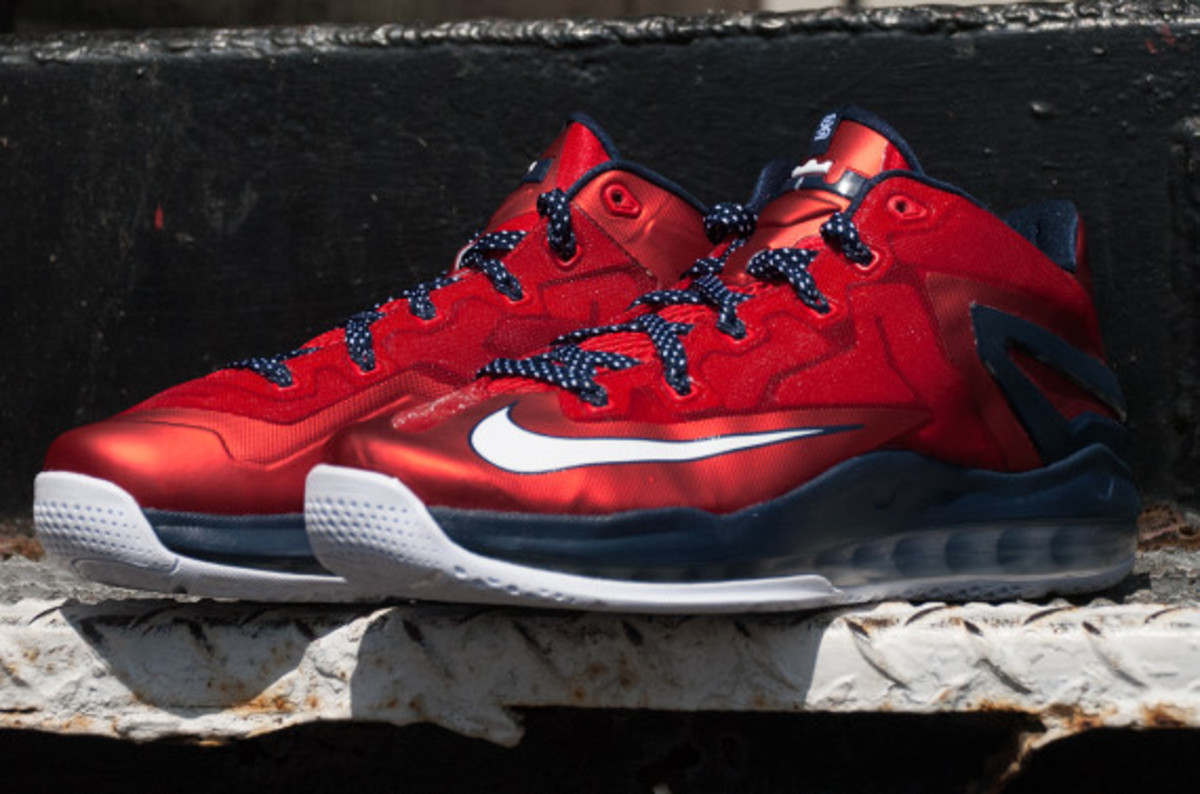 Lebron 11 Low Independence Day On Feet