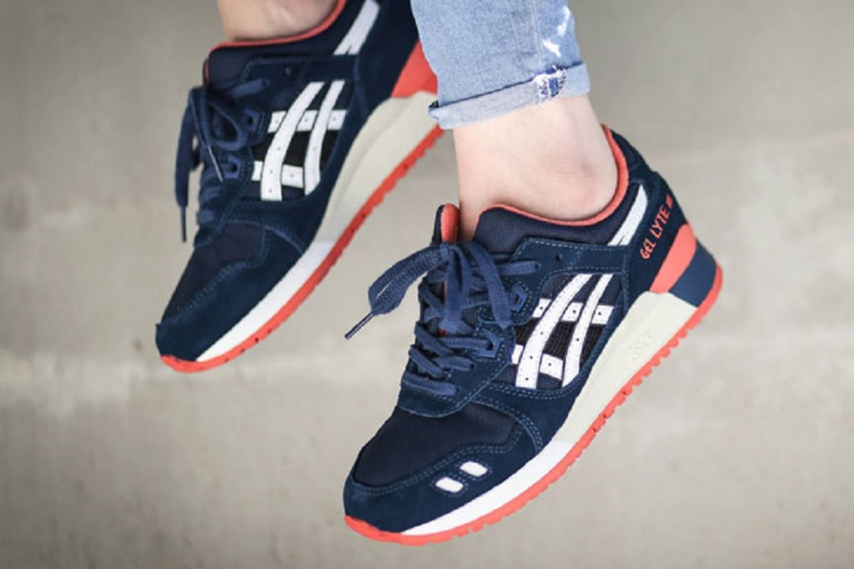 Asics Gel Lyte III Grey Blue Red Womens Shoes