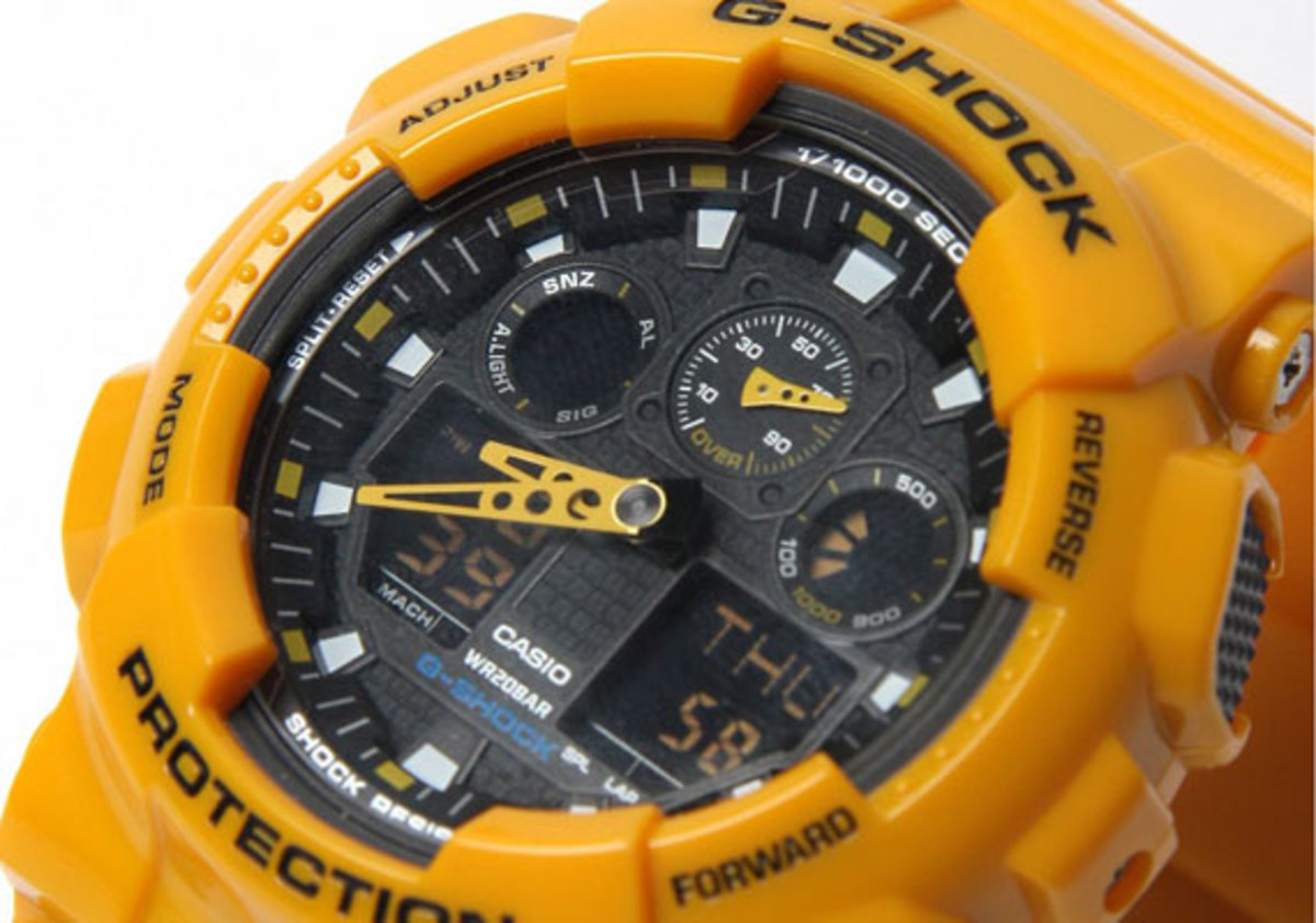 13af452c6 UK select shop oki-ni have released an exclusive model from Casio G-Shock.  The brightly colored GA-100 Big Face Combi watch is made up of orange  casing, ...
