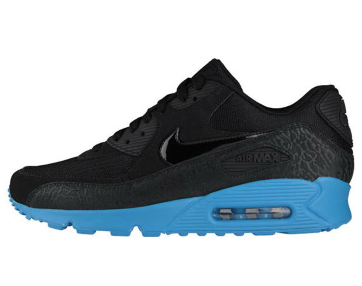 online retailer eeeaa 284b9 One of Nike s most popular running sneakers gets another stylish makeover  for the Fall, this time in the form of the Nike Air Max 90 Black Elephant  and Blue ...