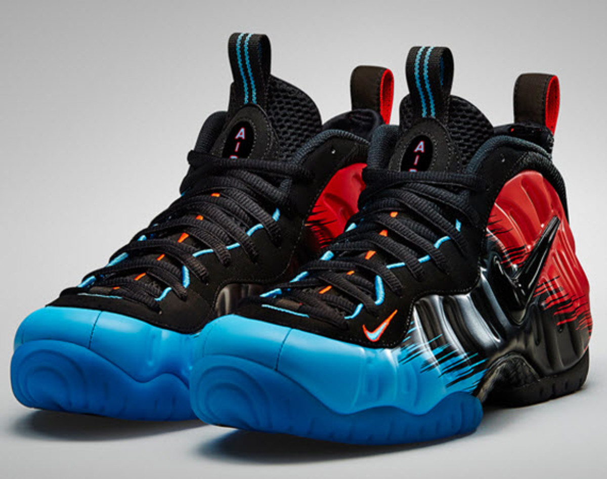 quality design 2ddd2 e0b32 Just as Spiderman blurs the line between man and insect, this latest Nike  Air Foamposite Pro Premium blurs the traditional take on color fading  between red, ...