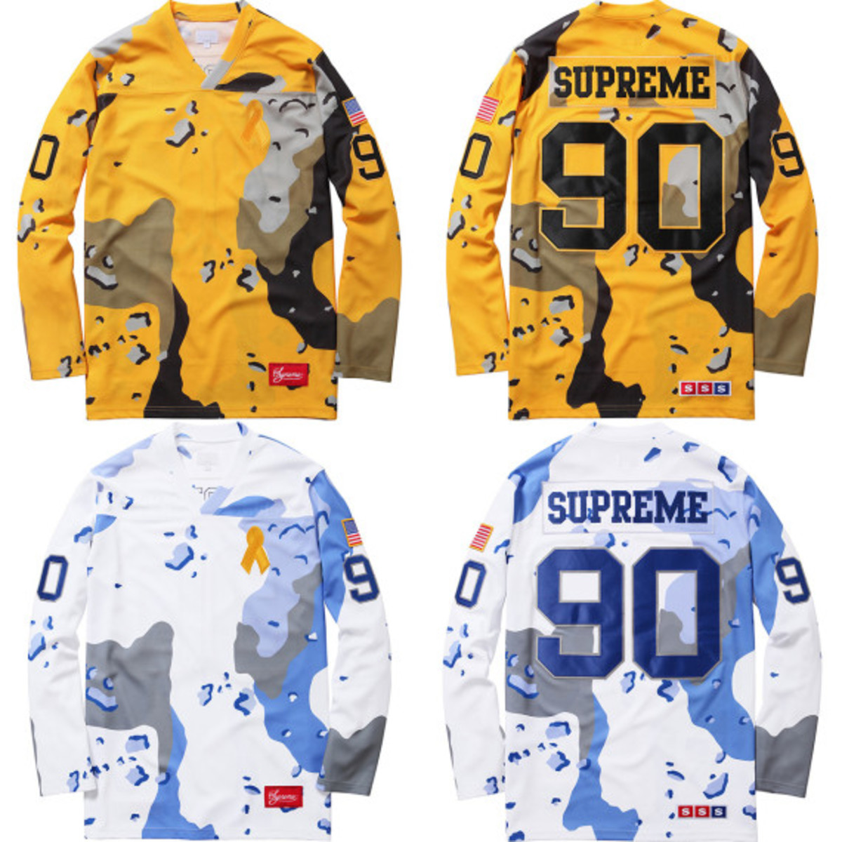 "d08efeb0c Adorned with the so-called ""Chocolate Chip Camo"" from the 1990 Gulf War,  this Supreme Desert Camo Hockey Top includes other details such as  embroidered ..."