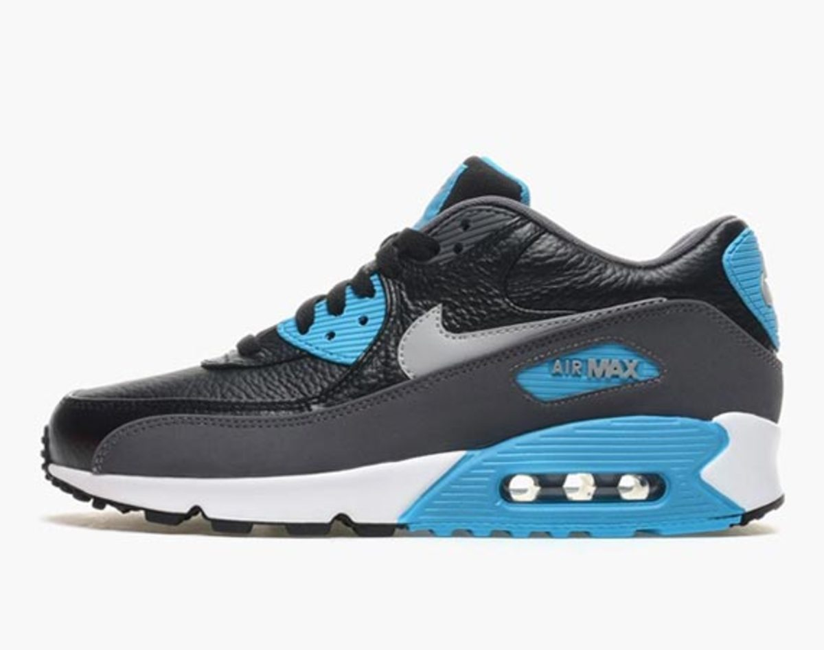first rate f6ddd ed7de nike-air-max-90-leather-black-wolf-grey-