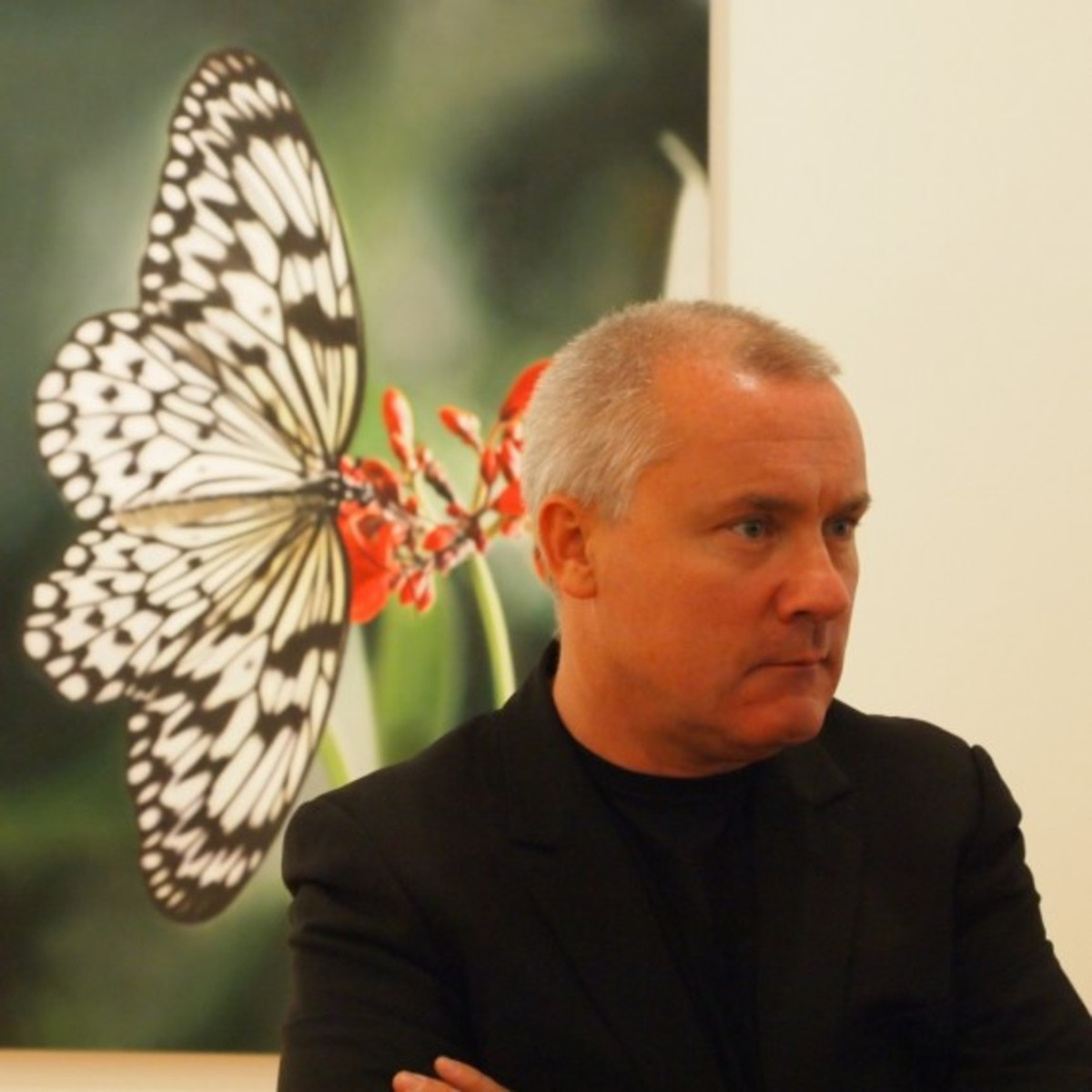 Damien Hirst with Butterfly 2