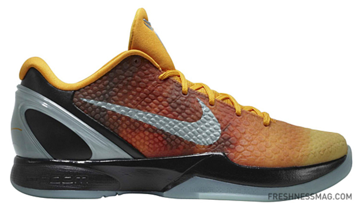 Nike Zoom Kobe VI - Sunset/Orange County Style: 448693-800. Color: Orange  Peel/Cannon-Black Release Date: February 11th (Friday)
