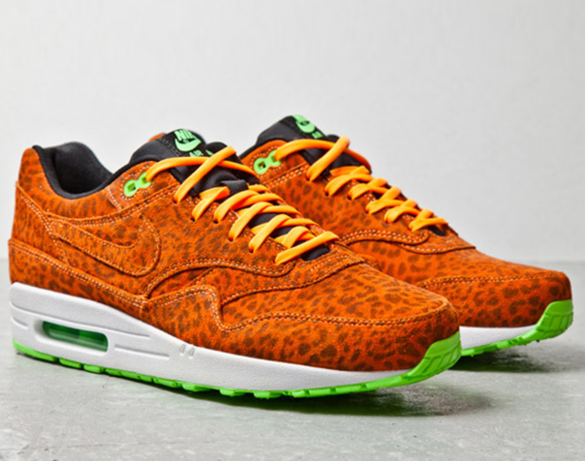 buy popular 8a071 c82eb ... Nike Air Max 1 FB, this week our friends at SneakerFreaker have  uncovered a second colorway in this pack this time a bring orange leopard  print suede.