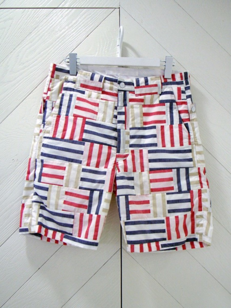 Patchwork Shorts Red