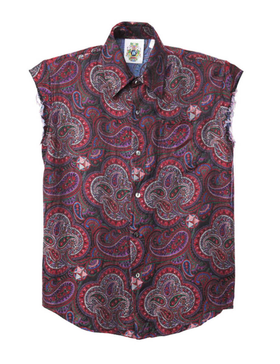 Paisley Cut Off Shirts Red