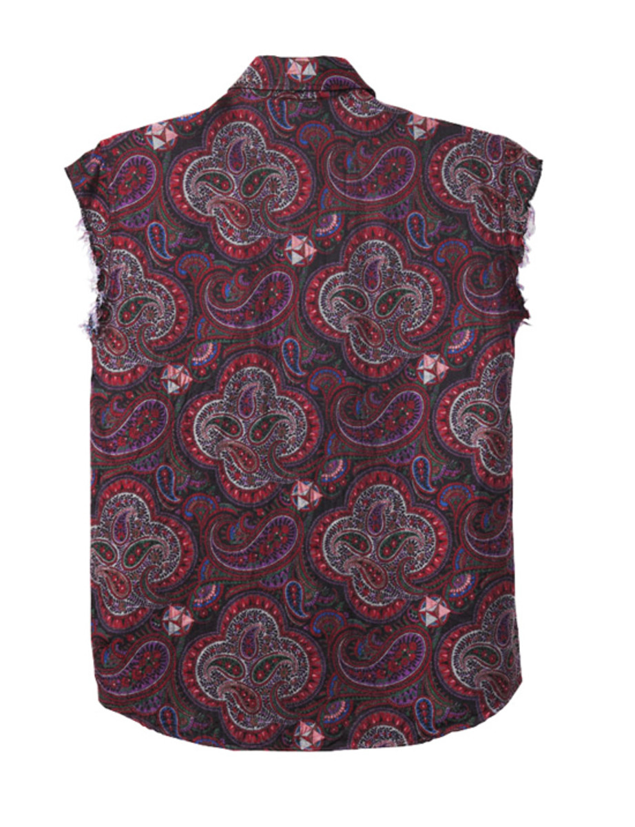 Paisley Cut Off Shirts Red 2