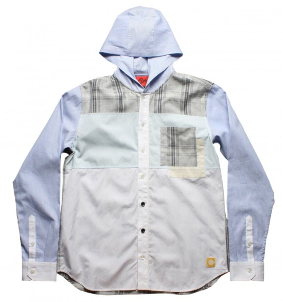Pannelled Hoodie Dress Shirt_White