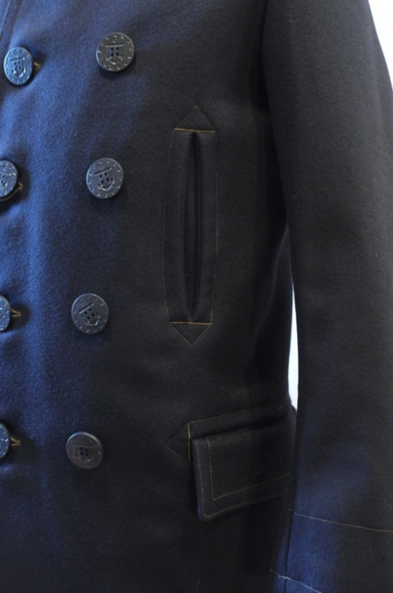 Traditional Navy Melton Vintage P Coat 3