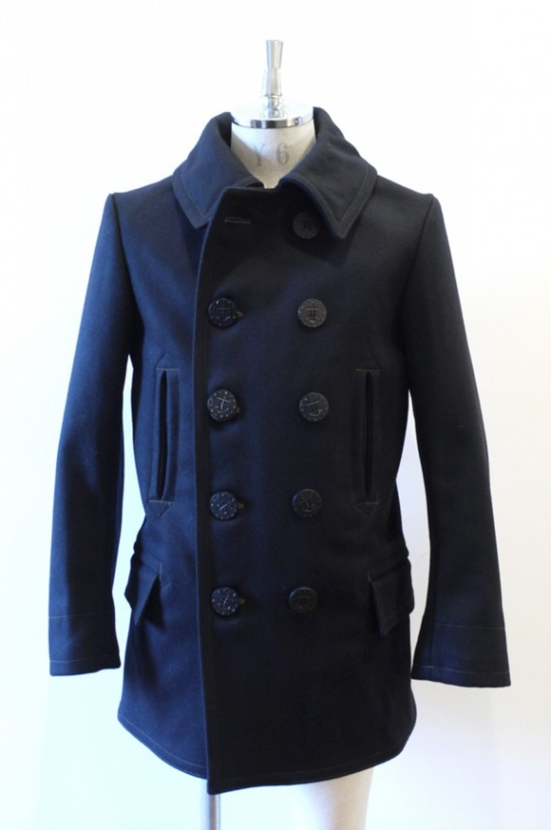 Traditional Navy Melton Vintage P Coat