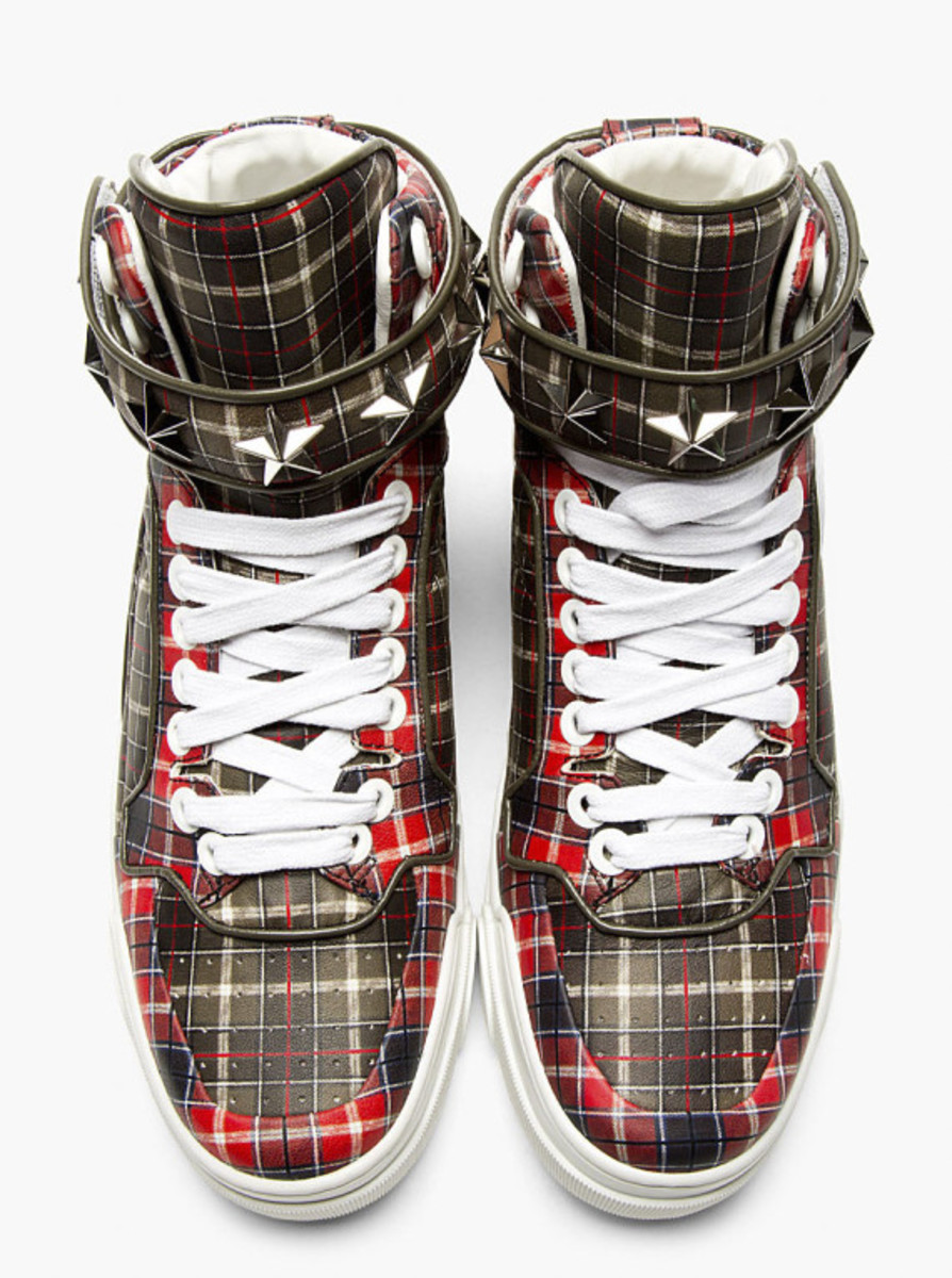 GIVENCHY – Red Calfskin Plaid Tyson High-Top Sneakers - 5