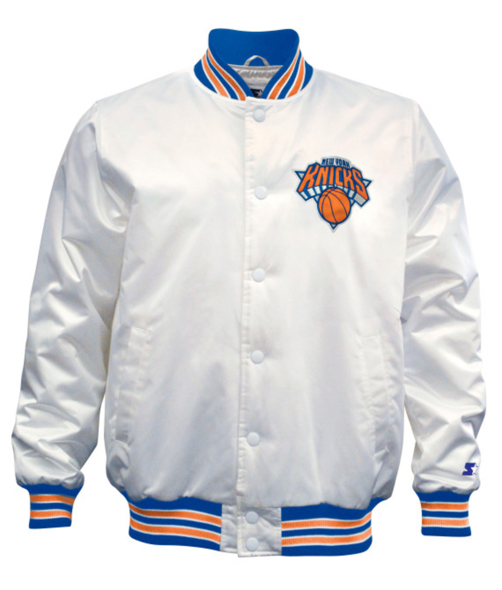 Starter – New York Knicks & Brooklyn Nets Limited Edition Satin Jacket in Christmas White - 1