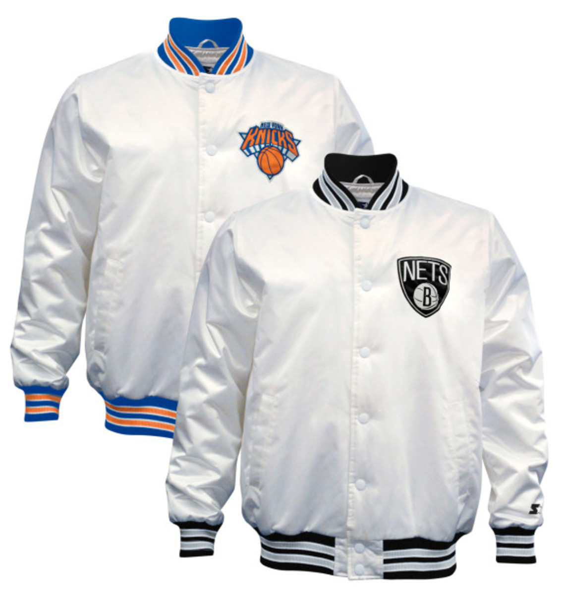 Starter – New York Knicks & Brooklyn Nets Limited Edition Satin Jacket in Christmas White - 0