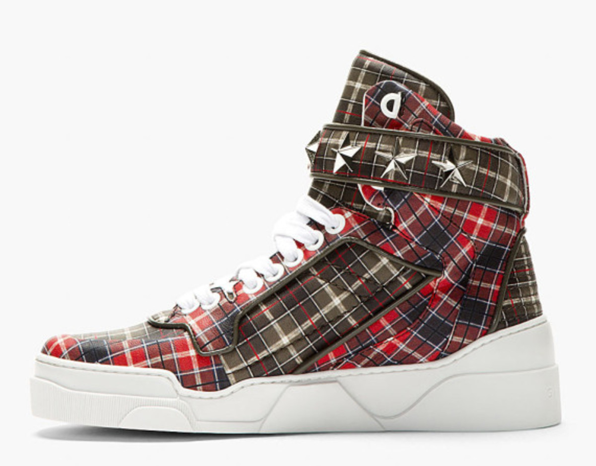 GIVENCHY – Red Calfskin Plaid Tyson High-Top Sneakers - 3