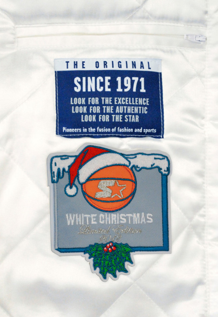 Starter – New York Knicks & Brooklyn Nets Limited Edition Satin Jacket in Christmas White - 5
