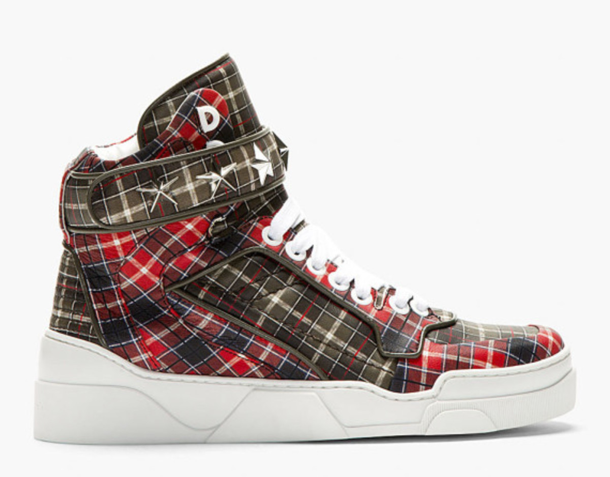 GIVENCHY – Red Calfskin Plaid Tyson High-Top Sneakers - 0