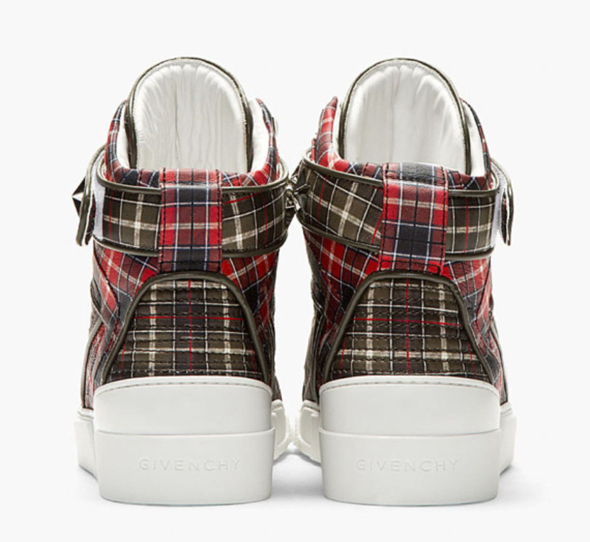 GIVENCHY – Red Calfskin Plaid Tyson High-Top Sneakers - 4
