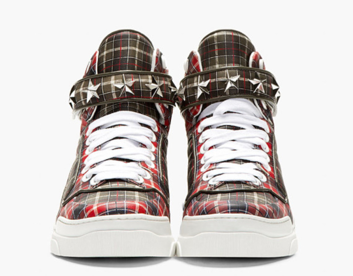 GIVENCHY – Red Calfskin Plaid Tyson High-Top Sneakers - 2