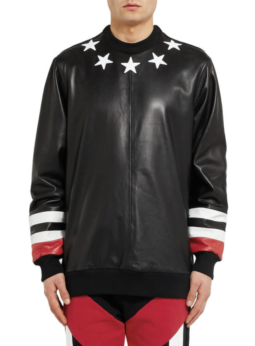 GIVENCHY - Star Detail Leather Sweatshirt with Jersey Back - 2