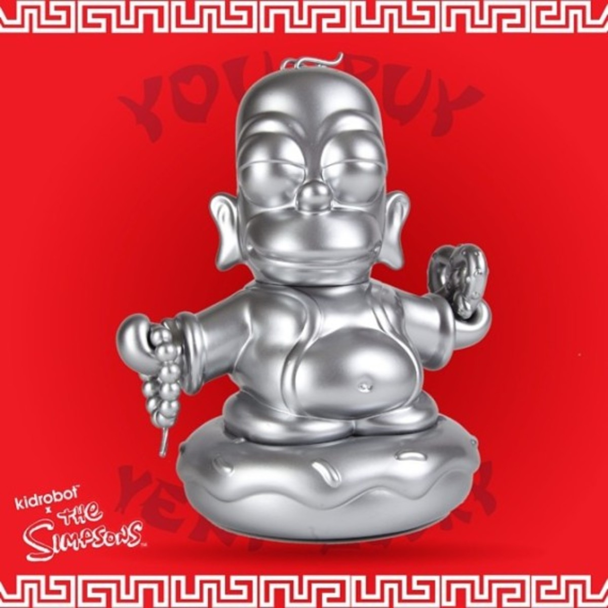 Kidrobot x The Simpsons Homer Buddha - Metallic Silver | Available Now - 1