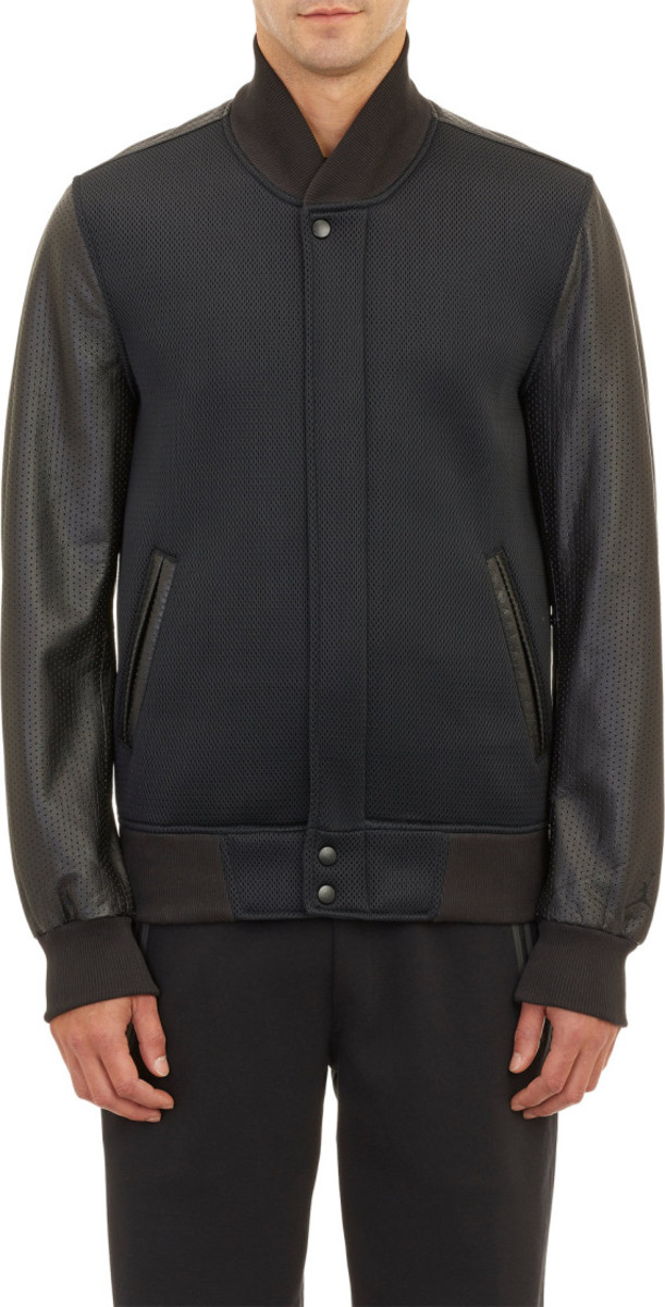 Jordan Brand x Russell Westbrook for Barneys New York - Neoprene & Leather Varsity Jacket - 2
